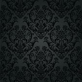 foto of charcoal  - Luxury black charcoal floral wallpaper pattern - JPG