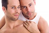 stock photo of gay couple  - Portrait of a happy homo couple on white - JPG