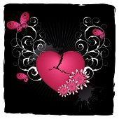 image of broken heart flower  - Black emo background with heart and flowers - JPG