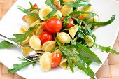 pic of turnip greens  - orecchiette pasta with rocket and little tomatoes to be served cold - JPG