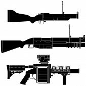 foto of grenades  - Layered vector illustration of collected Grenade Launcher - JPG