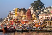 VARANASI, INDIA - MARCH 23: Ghats on the banks of Ganges river in holy city of Varanasi on March 23,