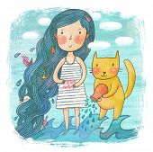 Zodiac sign - Aquarius. Part of a large colorful cartoon calendar. Cute girl with her cat in the sea
