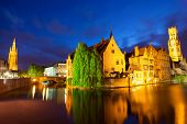 stock photo of cobblestone  - Night view of Bruges town World Heritage Site of UNESCO - JPG