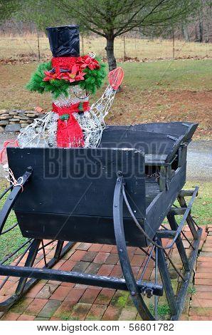 Modern decoration on an antique sleigh
