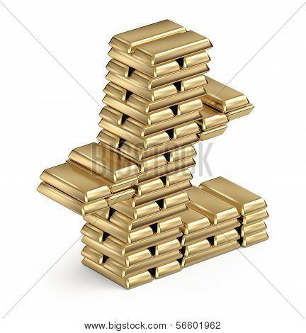 Litecoin symbol from gold bars