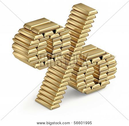 Percent sign from gold bars 3d