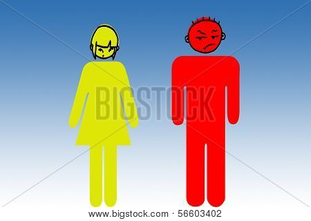 yellow woman and red man
