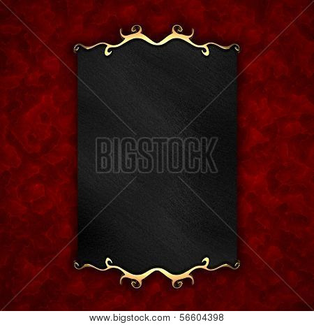 Red Background with Black plate and gold trim