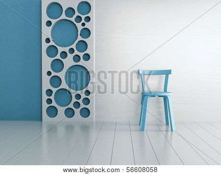 Empty old fashioned single chair standing against modern wall
