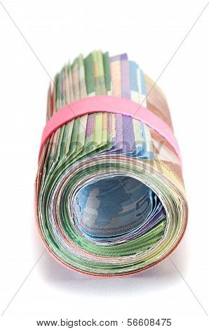 Roll Of Canadian Banknotes