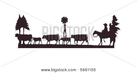 Buckaroos - Cowboy  On His Horse, Herding Cattle