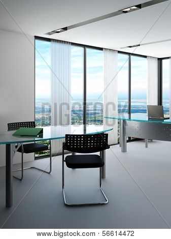 Modern office interior with huge windows with panoramic view