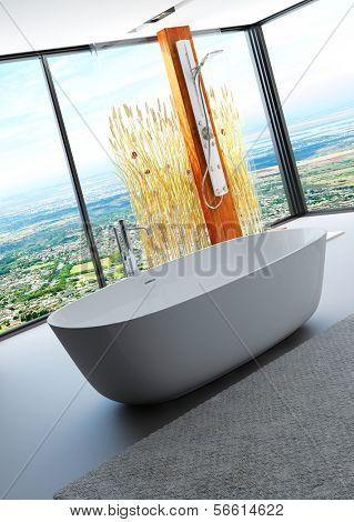 Awesome nature style bathroom interior with modern bathtub and shower cubicle decorated with reeds / cattails