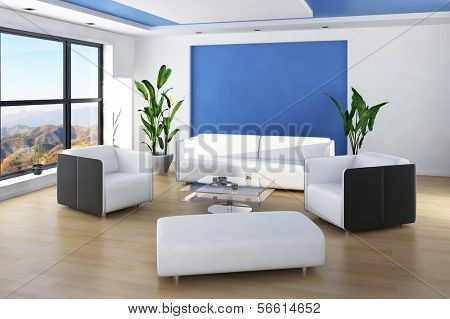 Beautiful light living room interior with blue colored wall and white furniture