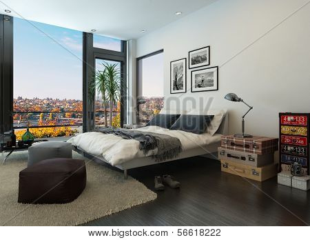 Modern bedroom interior with huge windows and vintage furniture