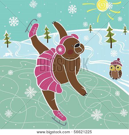 Brown Bear Skating On The Skating Rink.Vector humorous Illustrations