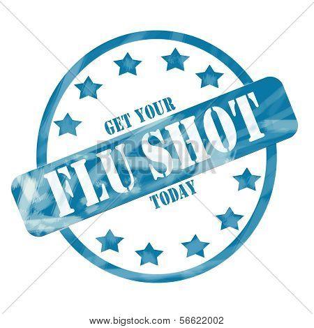 Blue Weathered Flu Shot Stamp Circle And Stars