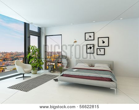 White light bedroom interior with double bed and floor to ceiling windows