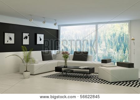 Modern living room with huge floor to ceiling windows and nice furniture