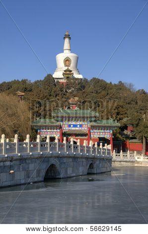 Beihai Park Landmark with Pagoda in Beijing / Peking - China