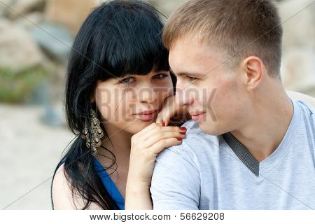 Loving Young Couple Is Embracing