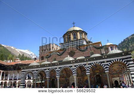 RILA MONASTERY, BULGARIA - MAY 03: Rila Monastery is the largest and most famous Eastern Orthodox monastery in Bulgaria. Rila Monastery, Bulgaria on May 03, 2012