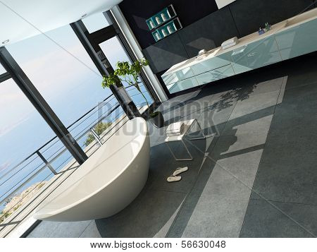 Ultramodern contemporary design bathroom interior with seascape view
