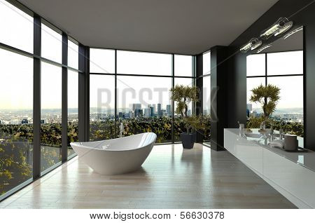 Modern white luxury bathroom interior