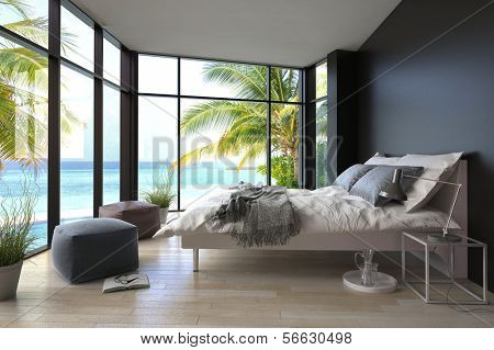 Interior tropical quarto com cama de casal e vista seascape