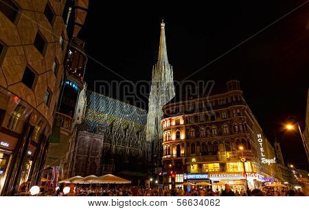 Tourists at Saint Stephane's cathedral Vienna