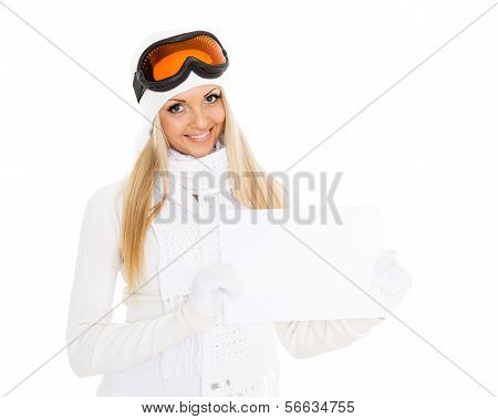 Young  Woman In Ski Glasses With Empty Board For The Text.