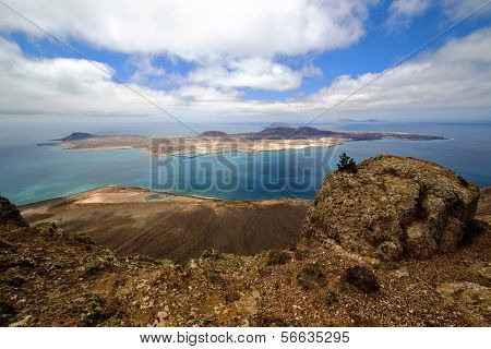 Harbor Rock Stone Sky In Lanzarote Spain Graciosa Miramar