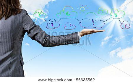 Nahaufnahme der Geschäftsmann Hand und Business-Symbole