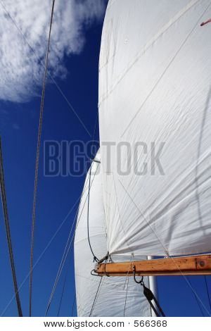 Billowing Sails On A Tall Ship