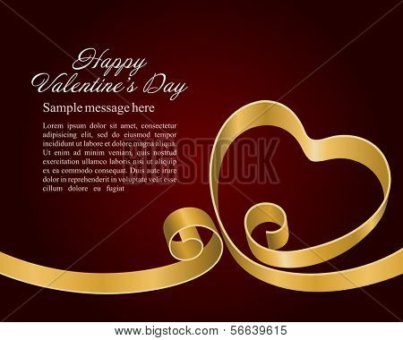 Heart from ribbon Valentine's day vector background. Happy Valentine's day card.