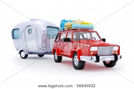 red suv adventure with trailer