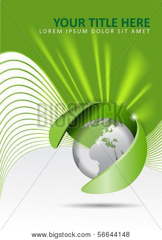 Vector abstract green background with a globe and rays of light in the background. Can be used for brochures, posters, flyers.