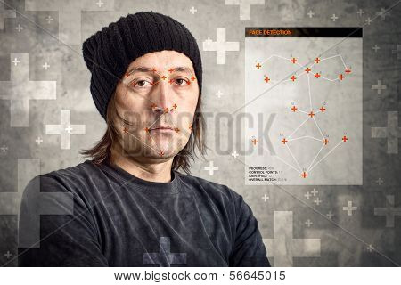 Face Detection Software Recognizing A Face Of Man