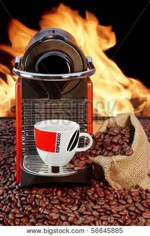 Coffee Machine With Cup  Of Espresso Near Fireplace