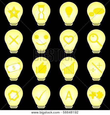 Idea Symbol In Light Bulb Icons On Black Background