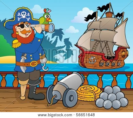 Pirate ship deck topic 1 - eps10 vector illustration.