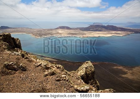 Harbor Rock Stone Sky Cloud Beach   Spain Graciosa Miramar Del Rio