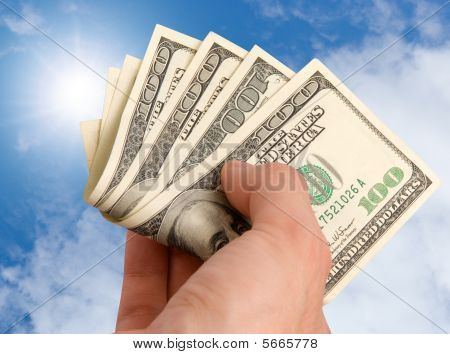 American Dollars In A Hand