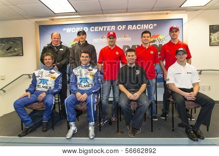Daytona Beach, FL - Jan 03, 2014:  The Chip Ganassi Racing with Felix Sabates drivers field media questions at the Roar Before the Rolex 24 at Daytona International Speedway in Daytona Beach, FL.