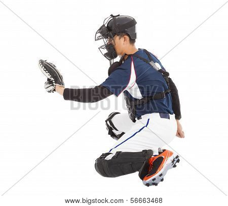 Baseball Player, Catcher,  Kneeling Gesture  To Catching