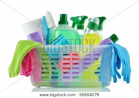 Cleaning Products And Supplies In A Basket.