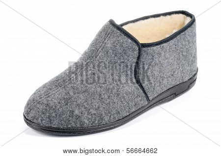 One Men's Fleece Slipper On White Background.