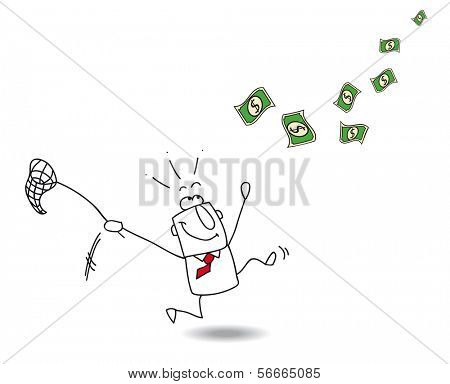 Catch money. A businessman runs after banknotes with a fishing net