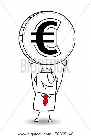 the business man is holding a coin in his hands